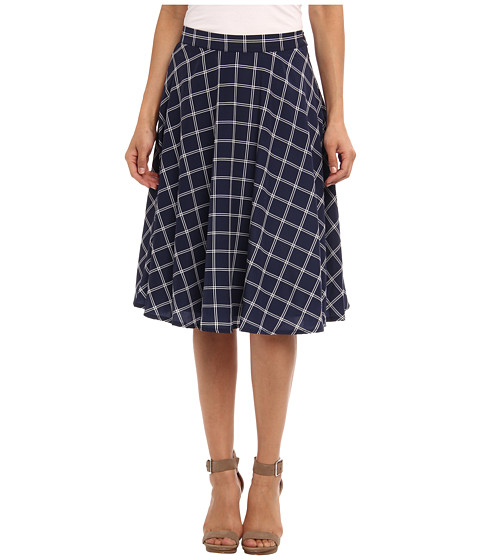 Christin Michaels - Checker High Waisted Midi Skirt (Navy) Women