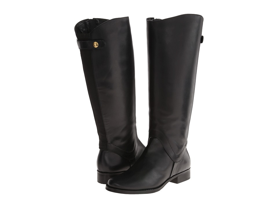 Steven - Sady Wide Calf (Black Leather) Women's Zip Boots