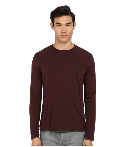 Vince - L/S Crew Neck w/ Side Panels Tee (Black Cherry/Heather Carbon) Men's Long Sleeve Pullover