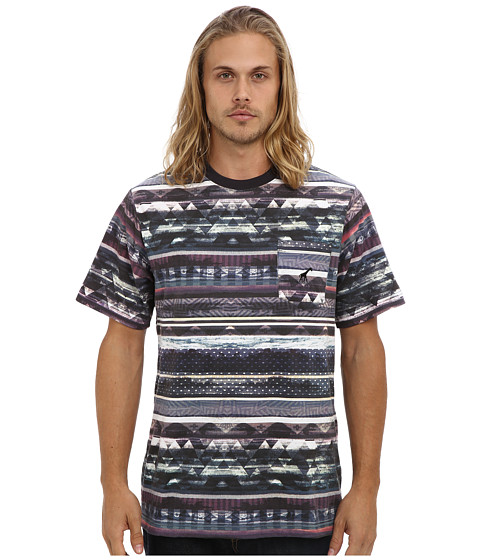 L-R-G - Research Collection Striped Pocket Tee (Black Multi Stripe) Men's T Shirt