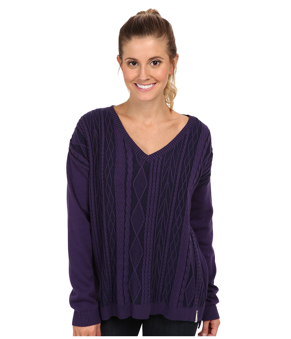 Woolrich - Plum Run Vee Neck Cable Sweater (Amethyst) Women
