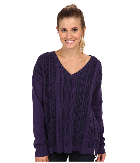 Woolrich - Plum Run Vee Neck Cable Sweater (Amethyst) Women's Sweater