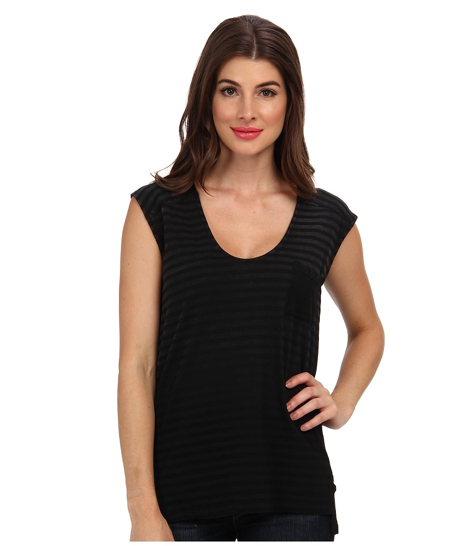 Splendid - V Neck Muscle Tank Top (Black) Women's Sleeveless