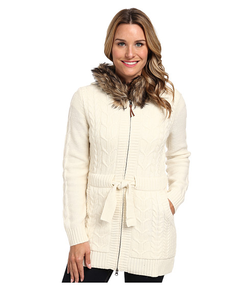 Woolrich - Hannah Zip Front Cable Cardigan Sweater (Wool Cream) Women's Sweater