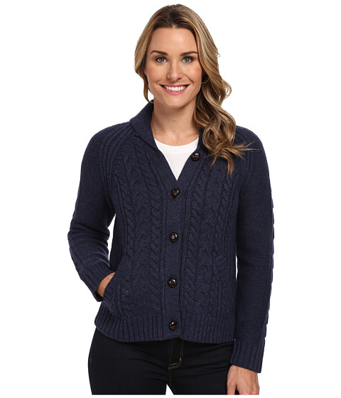 Woolrich - Hannah Short Cable Cardigan Sweater (Navy Heather) Women's Sweater