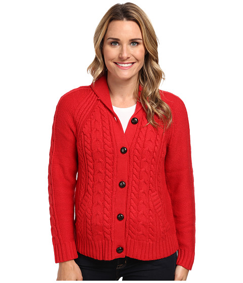 Woolrich - Hannah Short Cable Cardigan Sweater (Poppy) Women's Sweater