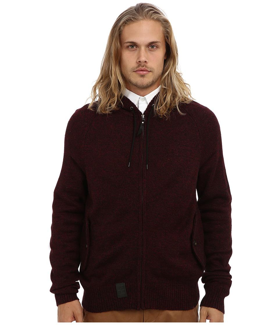 L-R-G - Research Collection Sweater Knit Zip Up Hoodie (Burgundy) Men's Sweatshirt