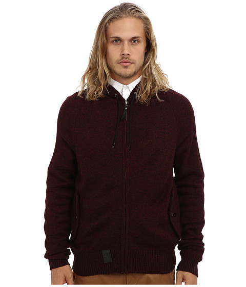 L-R-G - Research Collection Sweater Knit Zip Up Hoodie (Burgundy) Men's Sweatshirt