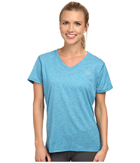 New Balance - Heathered V-Neck Top (Wave Blue) Women's Workout