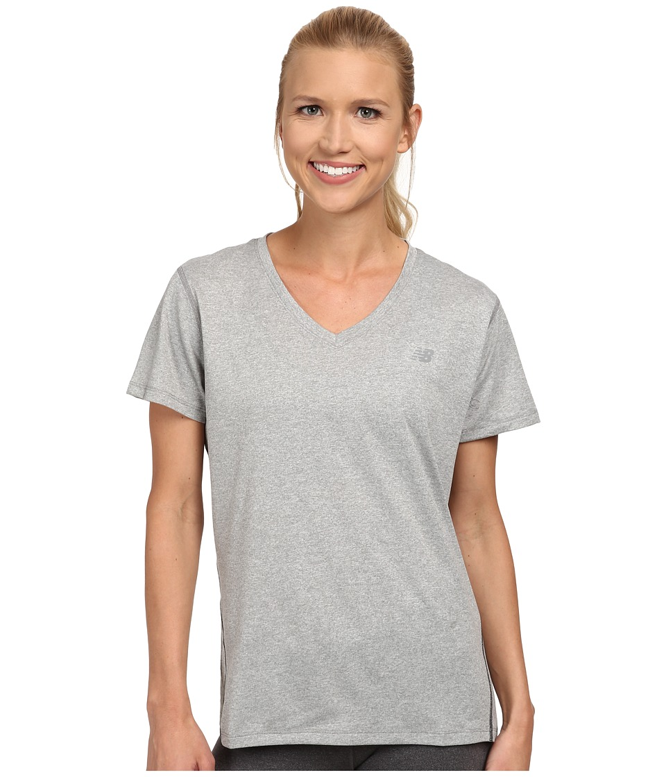 New Balance - Heathered V-Neck Top (Athletic Grey) Women's Workout