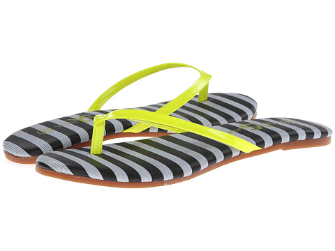 Yosi Samra - Roee Two-Tone Flip Flop (Black/Neon Lemon) Women's Sandals