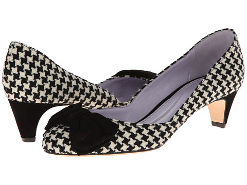 Johnston & Murphy - Anita Bow Pump (Black & White Houndstooth) Women's Slip on Shoes