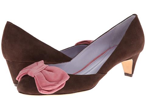 Johnston & Murphy - Anita Bow Pump (Chocolate & Pink Suede) Women's Slip on  Shoes
