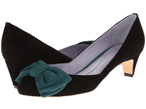 Johnston & Murphy - Anita Bow Pump (Black & Peacock Suede) Women's Slip on Shoes
