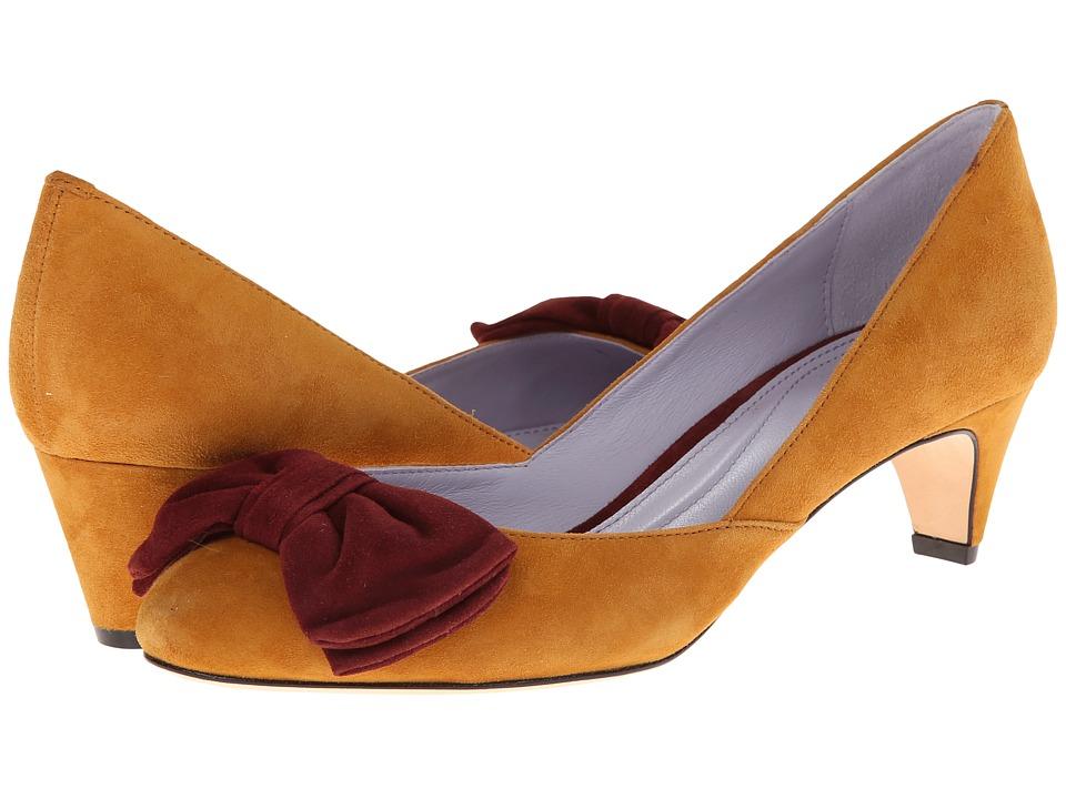 Johnston & Murphy - Anita Bow Pump (Saffron & Oxblood Suede) Women's Slip on Shoes