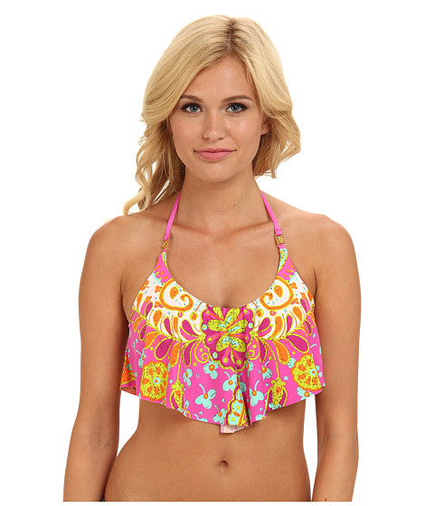 Trina Turk - Woodblock Floral Swim Crop Top (Pinkberry) Women's Swimwear