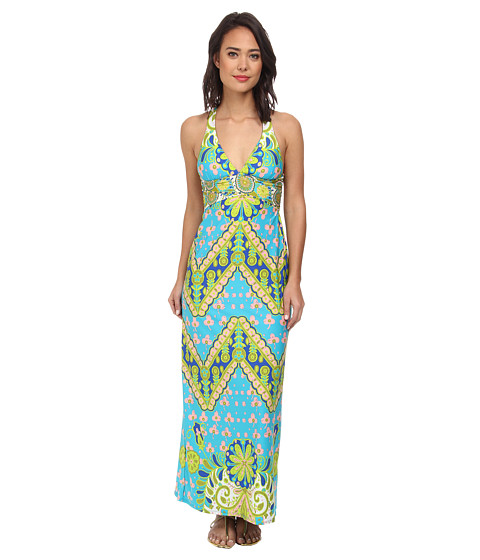 Trina Turk - Woodblock Floral Covers Long Dress (Pool) Women