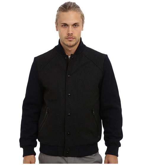 Buffalo David Bitton - 28 Wool Blend Varisty Jacket with Contrast (Charcoal) Men