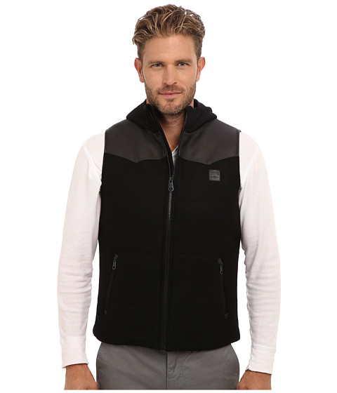 Buffalo David Bitton - 28 Wool/PU Combo Vest Hooded (Black) Men