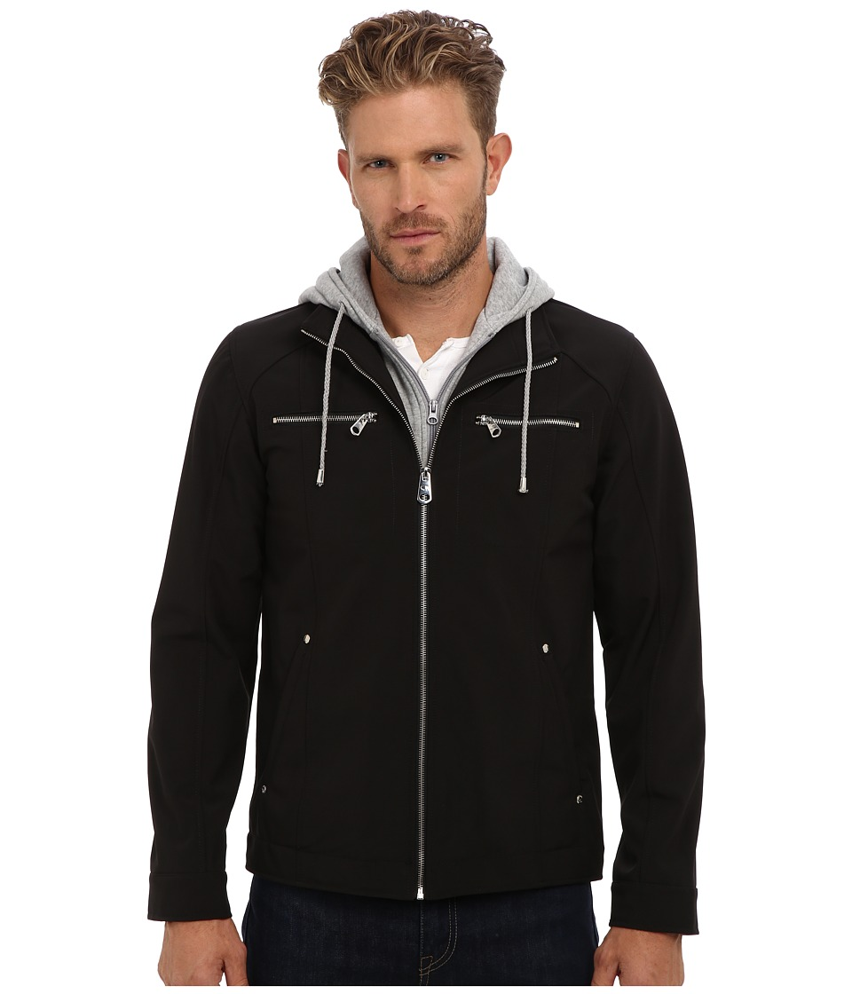 Buffalo David Bitton - 27 1/2 Soft Shell Zip Front with Bib Insert (Black) Men