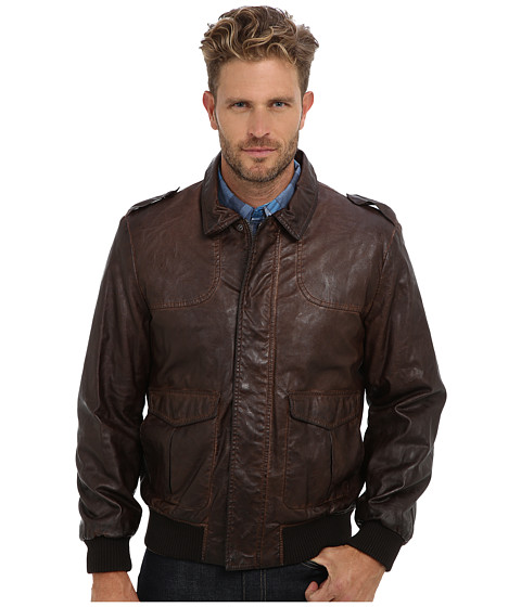 Nautica - 27 1/2 PU Bomber with Knit Trim on Cuff (Whiskey) Men