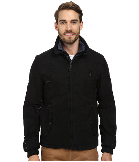 Buffalo David Bitton - 28 1/2 100% Cotton Zip Front with Bib (Black) Men