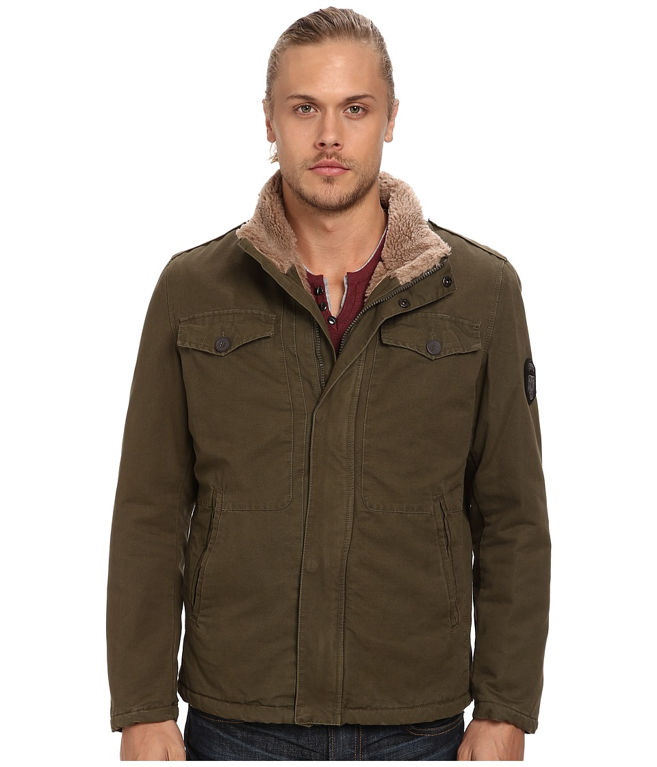 Buffalo David Bitton - 28 100% Cotton Zip Front with Sherpa (Olive Night) Men's Coat