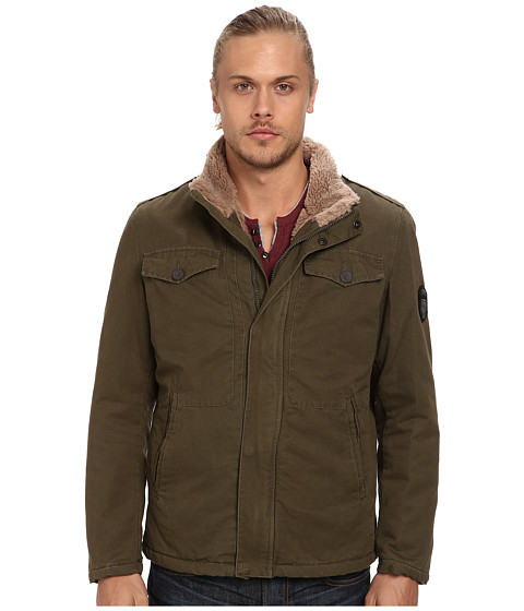 Buffalo David Bitton - 28 100% Cotton Zip Front with Sherpa (Olive Night) Men