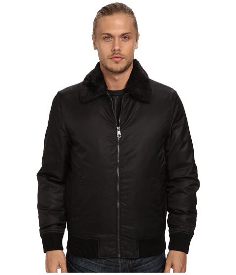 Buffalo David Bitton - 27 1/2 Polyester Bomber with Knit Cuff Waist (Black) Men's Coat