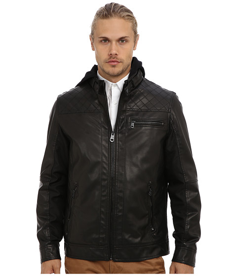Buffalo David Bitton - 27 1/2 PU Zip Front with Removable Hood (Black) Men's Coat