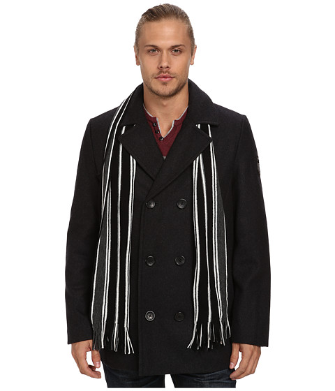 Buffalo David Bitton - 30 1/2 Wool Blend Peacoat with Scarf (Charcoal) Men