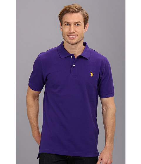 U.S. POLO ASSN. - Solid Cotton Pique Polo with Small Pony (Dark Violet) Men's Short Sleeve Knit