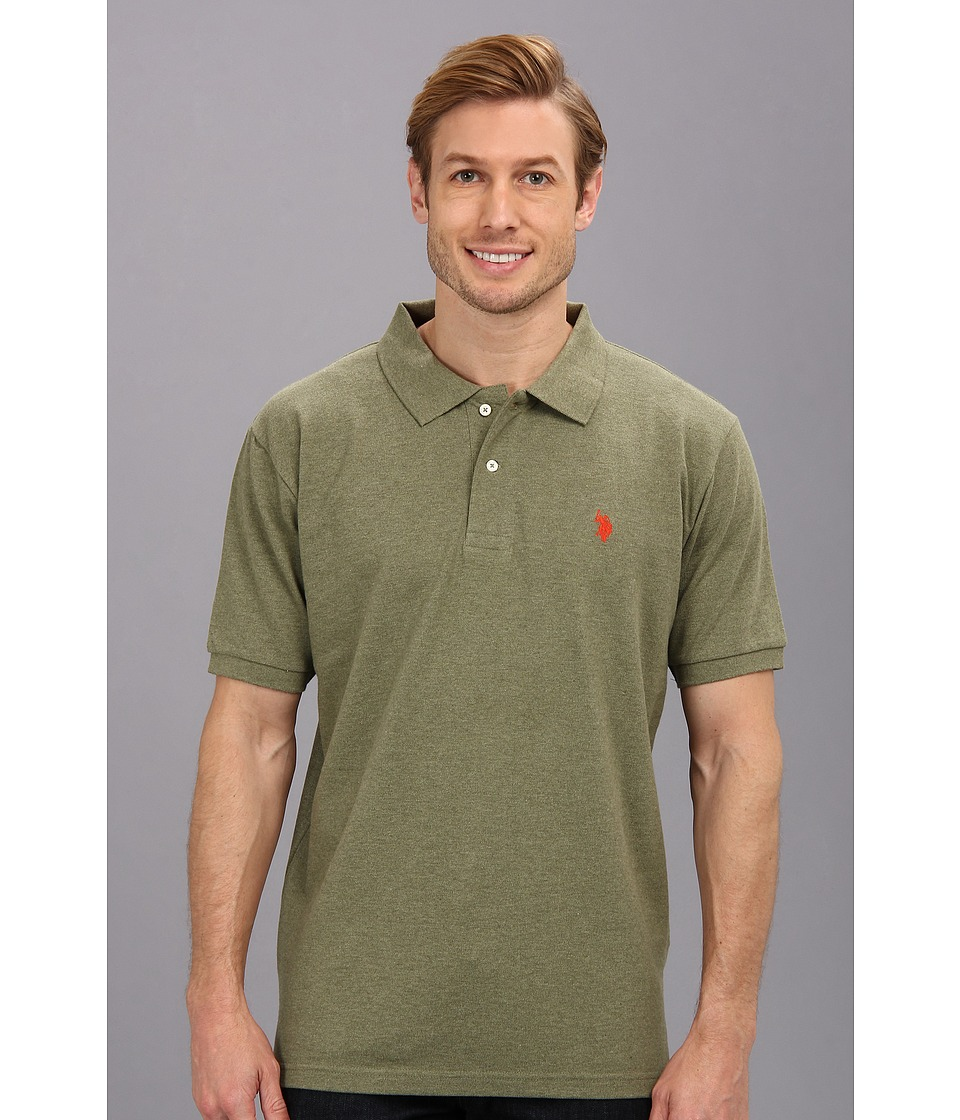 U.S. POLO ASSN. - Solid Cotton Pique Polo with Small Pony (Olive Green Heather) Men's Short Sleeve Knit