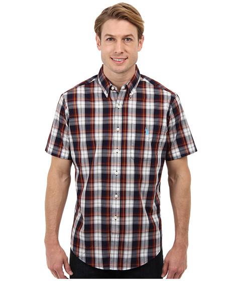 U.S. POLO ASSN. - Short Sleeve Poplin Button Down Plaid Shirt (New Burgundy) Men