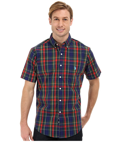 U.S. POLO ASSN. - Short Sleeve Button Down Plaid Shirt (Park Green) Men's Short Sleeve Button Up