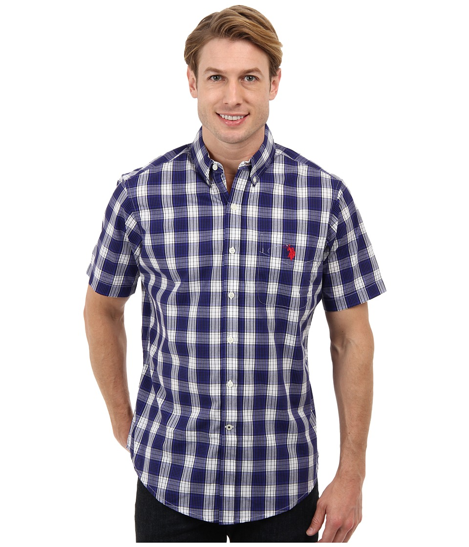 U.S. POLO ASSN. - Cotton Poplin Button Down Plaid Shirt (Dark Violet) Men's Short Sleeve Button Up
