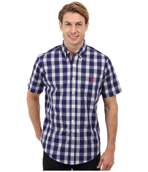 U.S. POLO ASSN. - Cotton Poplin Button Down Plaid Shirt (Dark Violet) Men
