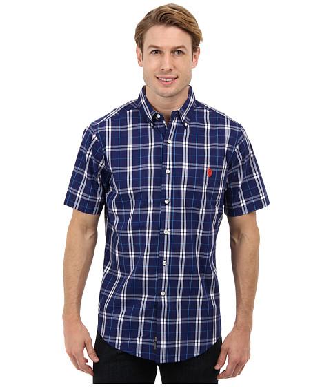 U.S. POLO ASSN. - Short Sleeve Poplin Button Down Plaid Shirt (Marina Blue) Men