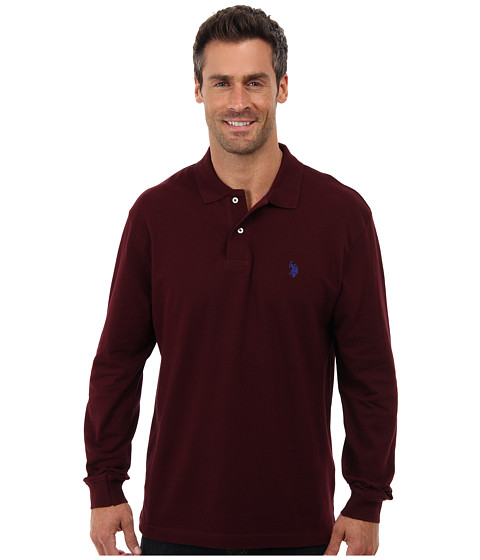 U.S. POLO ASSN. - Long Sleeve Pique Polo with Small Pony Logo (New Burgundy) Men