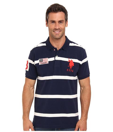 U.S. POLO ASSN. - Stripe Short Sleeve Pique Polo with Big Pony Logo (Vintage Navy) Men