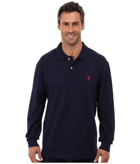 U.S. POLO ASSN. - Long Sleeve Pique Polo with Small Pony Logo (Classic Navy) Men