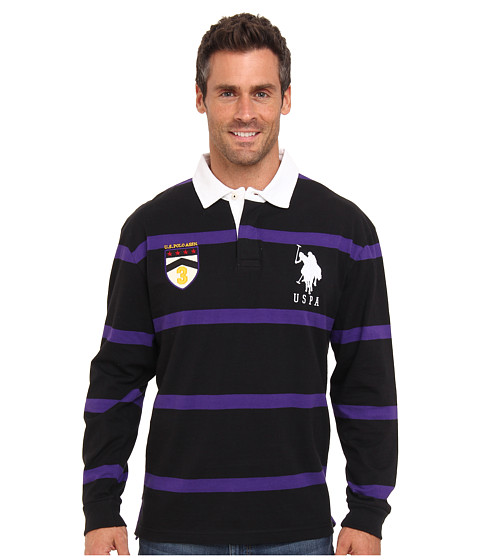 U.S. POLO ASSN. - Long Sleeve Stripe Rugby Polo with Patch and Big Pony Logo (Black) Men