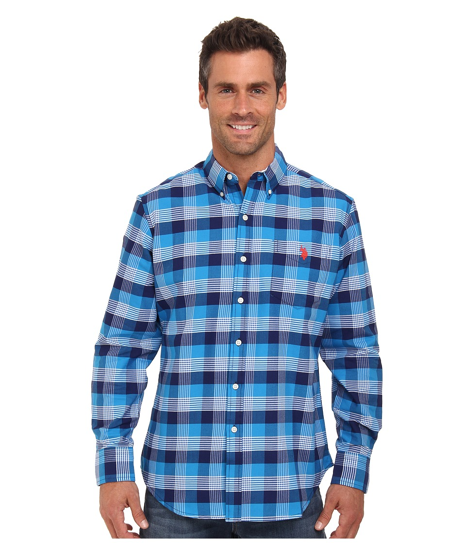 U.S. POLO ASSN. - Long Sleeve Plaid Button Down Oxford Shirt (Marina Blue) Men's Long Sleeve Button Up