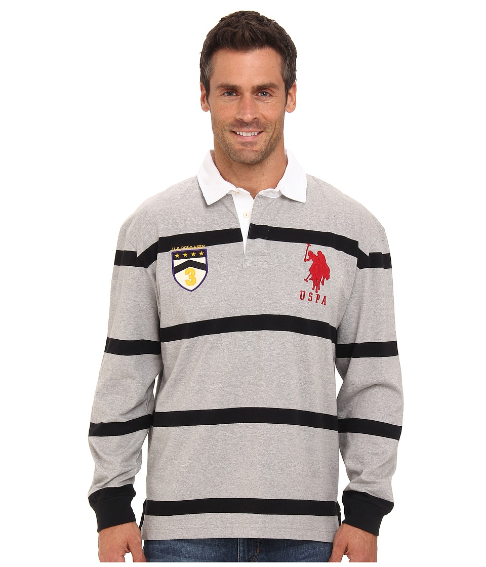 U.S. POLO ASSN. - Long Sleeve Stripe Rugby Polo with Patch and Big Pony Logo (Heather Gray) Men