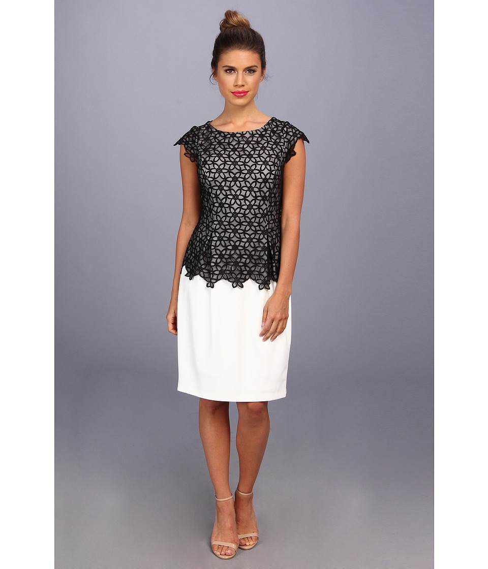 Adrianna Papell - Daisy Netting Overlay Dress (Ivory/Black) Women's Dress