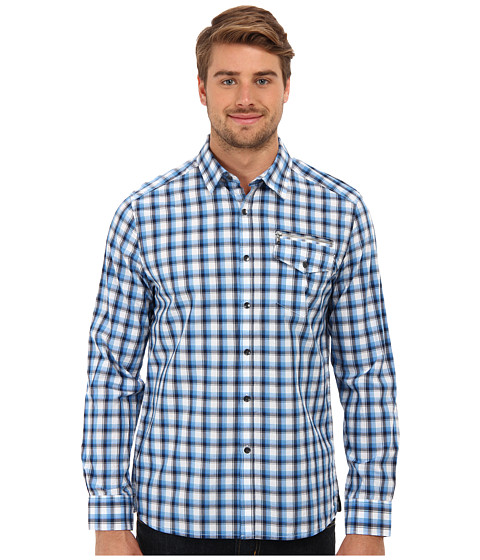 Kenneth Cole Sportswear - Long Sleeve Zip One Pocket Elbow Patch Shirt (Moody Blue Combo) Men's Long Sleeve Button Up