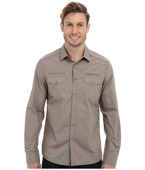 Kenneth Cole Sportswear - Long Sleeve Solid Military Shirt (Latte) Men