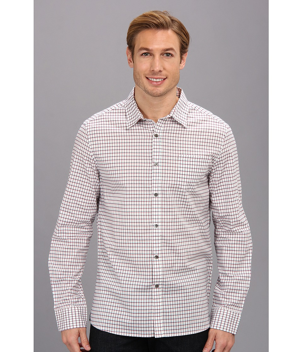 Kenneth Cole Sportswear - Long Sleeve Graphic Check Sport Shirt (Rouge Combo) Men