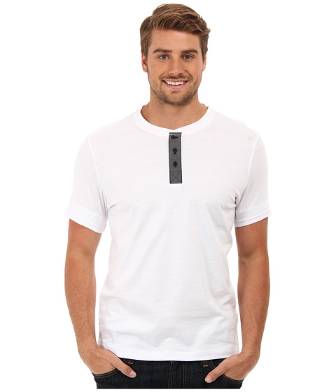 Kenneth Cole Sportswear - Short Sleeve Denim Trim Henley (White) Men's T Shirt