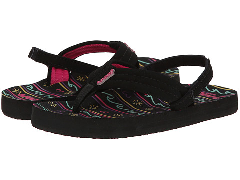 Reef Kids - Little Ahi (Infant/Toddler/Little Kid/Big Kid) (Black/Waves) Girls Shoes